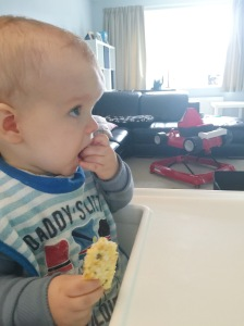 Eating the crackers with egg. Until this point Austin has always completely refused anything egg-based